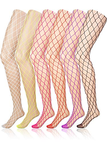 6 Pairs Fishnet Stockings Women's High Waist Fishnet Tights for Girls Ladies (Multicolored, XL -