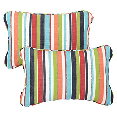 Mozaic Company Sunbrella Indoor/ Outdoor 12 by 18-inch Corded Pillow, Carousel Confetti, Set of 2 - Color:  Sunbrella Colorful Stripe Materials: Acrylic fabric, filled with 100% recycled polyester fiber Weather, mildew, fade and stain resistant with UV protection - patio, outdoor-throw-pillows, outdoor-decor - 51j5GopDgLL. SS400  -