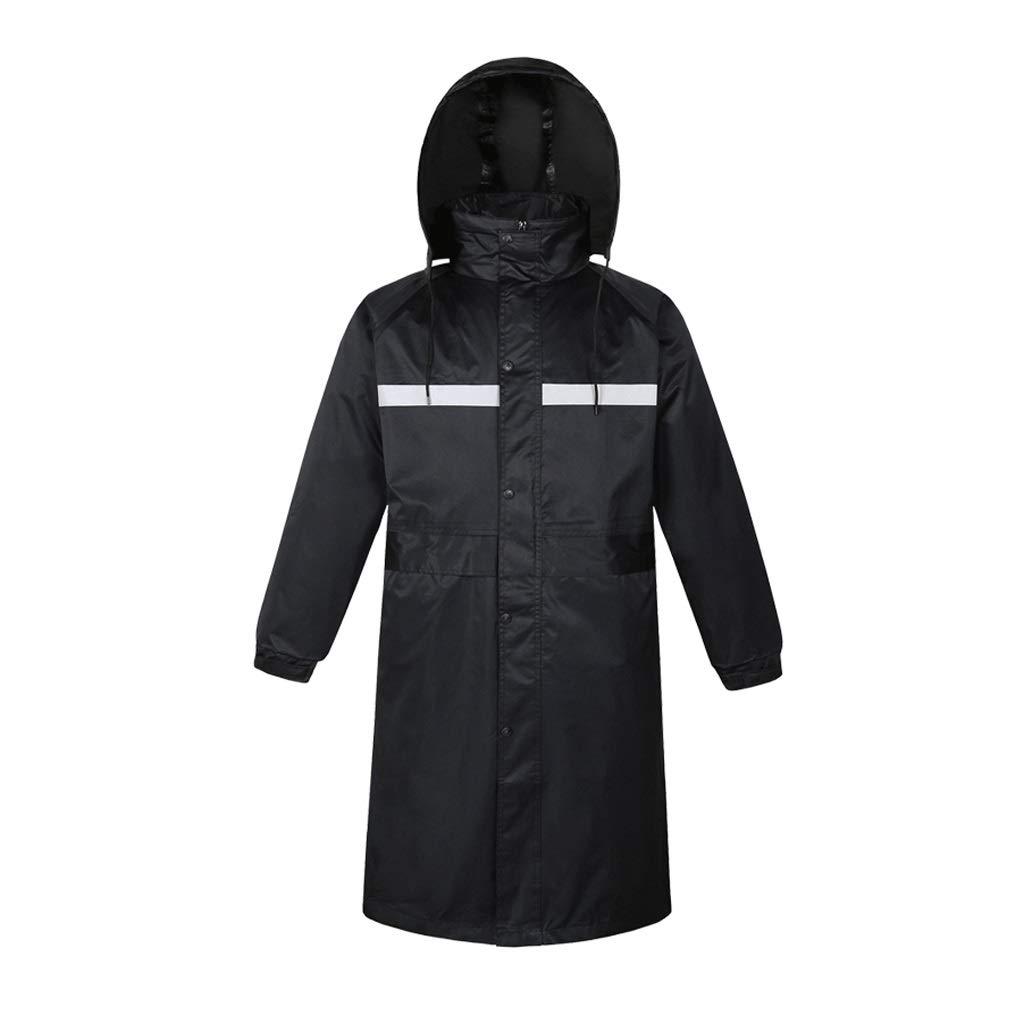 Haodan electronics-Regenjacken Wiederverwendbare Lange Einteilige, zweischichtige, reflektierende Regenjacke für Männer und Frauen (Farbe   schwarz, Größe   L)