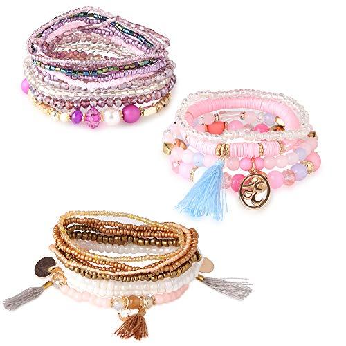 Finrezio 3 Sets Bohemian Beaded Bracelets for Women Cute Multilayer Stretch Stackable Bracelet Set Fashion Jewelry