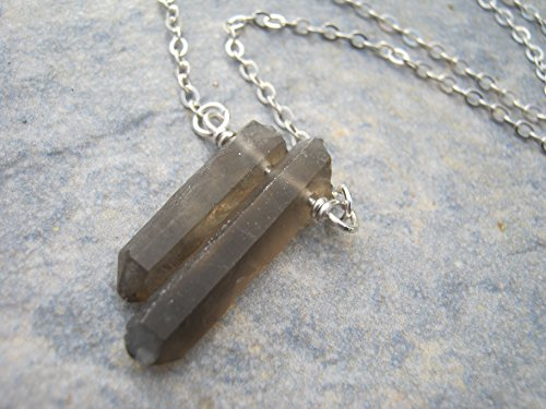 18 925 Sterling Silver Smoky Quartz Point Necklace, Smoky Quartz Crystal Jewelry, Twins Minimalist Bar Jewelry, 18 inch Spike Necklace, Handmade in U…