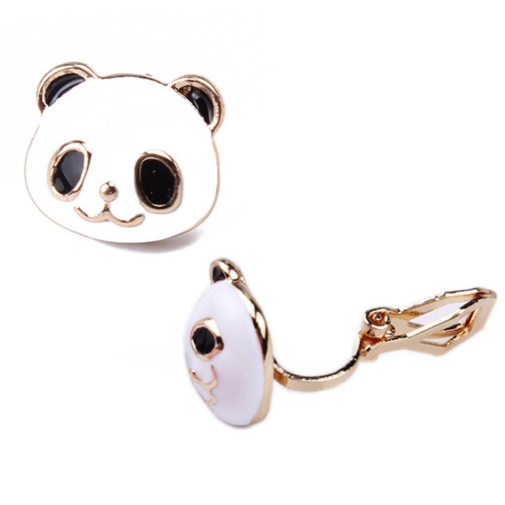 Stud Earring Soft Rubber Back Clip on Cute Panda Face Golden Animal for Women Girls Kids Jewelry Gift Box