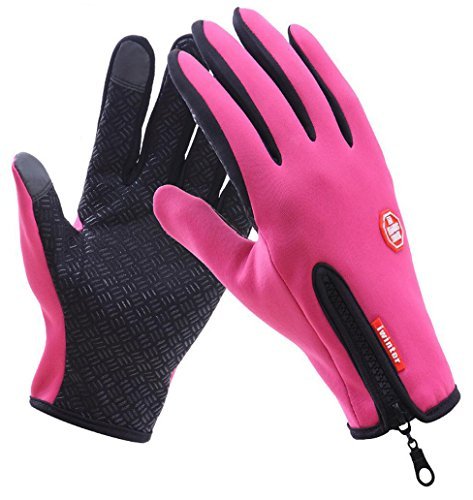 AoMagic Women's WaterResistant Windproof Ski Mountaineering Touch Screen Rose Red Medium Gloves