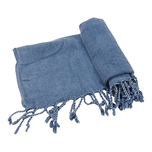 Cotton Pique Jeans - Mykonos Stonewashed Turkish Towel Beach Towel Bath Towel Peshtemal Fouta Travel Camping Sauna Pool Spa Hammam Yoga Gym Pilates Pareo Sarong Throw Picnic Blanket, 100% Cotton 31