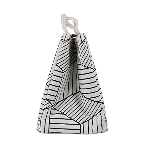 HOMESPON Reusable Lunch Bags Printed Canvas Fabric Insulated Waterproof Aluminum Foil, Lunch Box Women, Kids, Students (Geometric Pattern-White) by HOMESPON (Image #3)