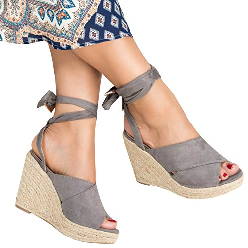 PiePieBuy Women's Summer Fashion Suede Cap Toe Espadrille Wedge Sandals Ankle Strap Buckle Platform Shoes (8.5 B(M) US - EU Size 39, Gray) - Gray Wedge