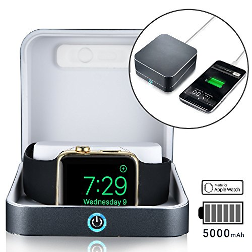 5-in-1 Apple Watch charger - [NEW] SUMATO WATCHBOX Charging Station for Apple Watch Band 42mm 38mm + 5000mAh Power Bank, Charging cable, Keychain Travel Charger, Apple Watch Series 2 3 1 (Dark Gray)