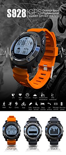 S928 GPS Real-time Heart Rate Monitor Smart Watch Air Pressure Environment Temperature Height 3D Accelerometer + Gyroscope