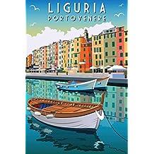 Porto Venere Liguria Italy Retro Travel Art Poster 24x36 inch