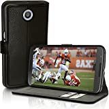 iGadgitz Premium Wallet Flip Black PU Leather Case Cover for Motorola Google Nexus XT1100 XT1033 With Card Slots + Viewing Stand + Magnetic Closure + Screen Protector