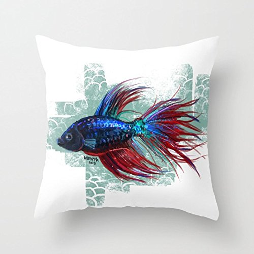 SPXUBZ Colorful Beta Fish Pillow Cover Decorative Home Decor Nice Gift Square Indoor/Outdoor Pillowcase Size: 18x18 Inch(Two ()