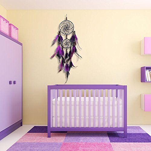 IMMIGOO Traditional Handmade Dreamcatcher Mobile Dreamcatchers 2 Rings Native American Dream Catchers Feathers Decorations Home Wall Outdoor Hangings Ornament Gifts for Boys Kids Girls – Black Purple