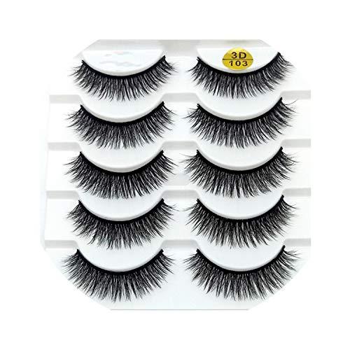 5 pairs Mink Eyelashes 3D False lashes Thick Crisscross Makeup Eyelash Extension Natural Volume Soft Fake Eye Lashes,5pairs,103