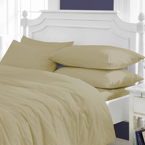 US Furnishing Comfy SPA LIKE FEEL SUPER FLUFFY Egyptian Cotton Made in USA 3-Piece Duvet Cover Set 400 TC Stripe (King, Taupe) by US FURNISHING (Image #7)