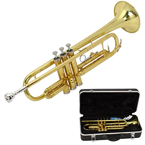 Z ZTDM Gold Lacquer Brass Bb Trumpet for Student School Band Beginner by Z ZTDM