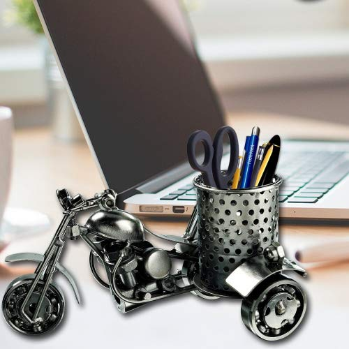Metal Desk Pencil Holder, Handmade Creative Metal Crafts Office Desktop Storage Accessories, Harley Davidson Metal Pen Pencil Holder, Perfect Cute Gift idea