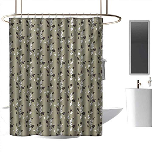 Bathroom Shower Curtains Sets Complete mats Floral,Wildflowers Pattern Contrasting Colors Curvy Branches Natural Theme,Khaki White Dark Brown,W108 x L72,Shower Curtain for Small Shower stall ()