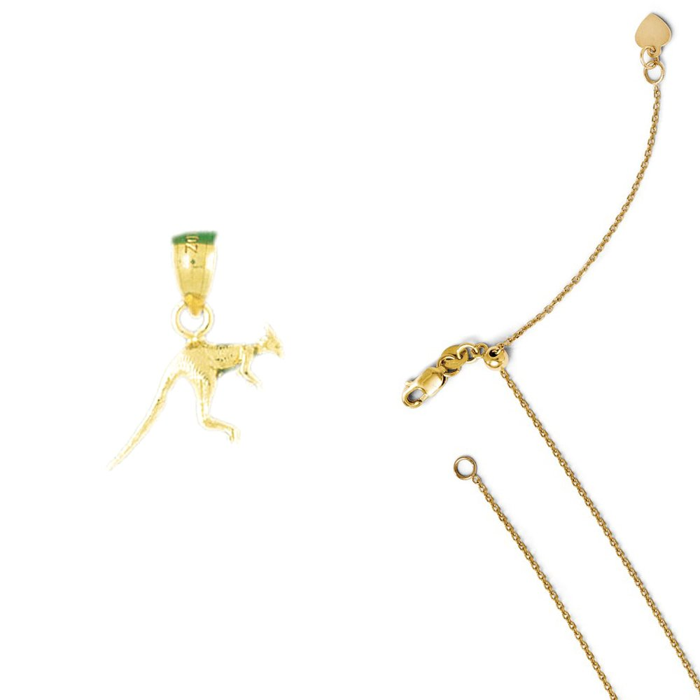 14K Yellow Gold 3-D Kangaroo Pendant on an Adjustable 14K Yellow Gold Chain Necklace