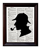 Sherlock Holmes Silhouette - Printed on Upcycled Vintage - Best Reviews Guide