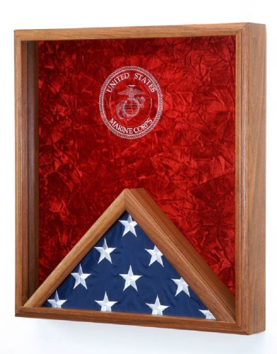 All-American-Gifts-Military-Flag-and-Medal-Display-Case-for-3×5-Flag-Shadow-Box-wall-mountable-wLaser-Engraved-Emblem-USMC-EGA-Engraved-Emblem
