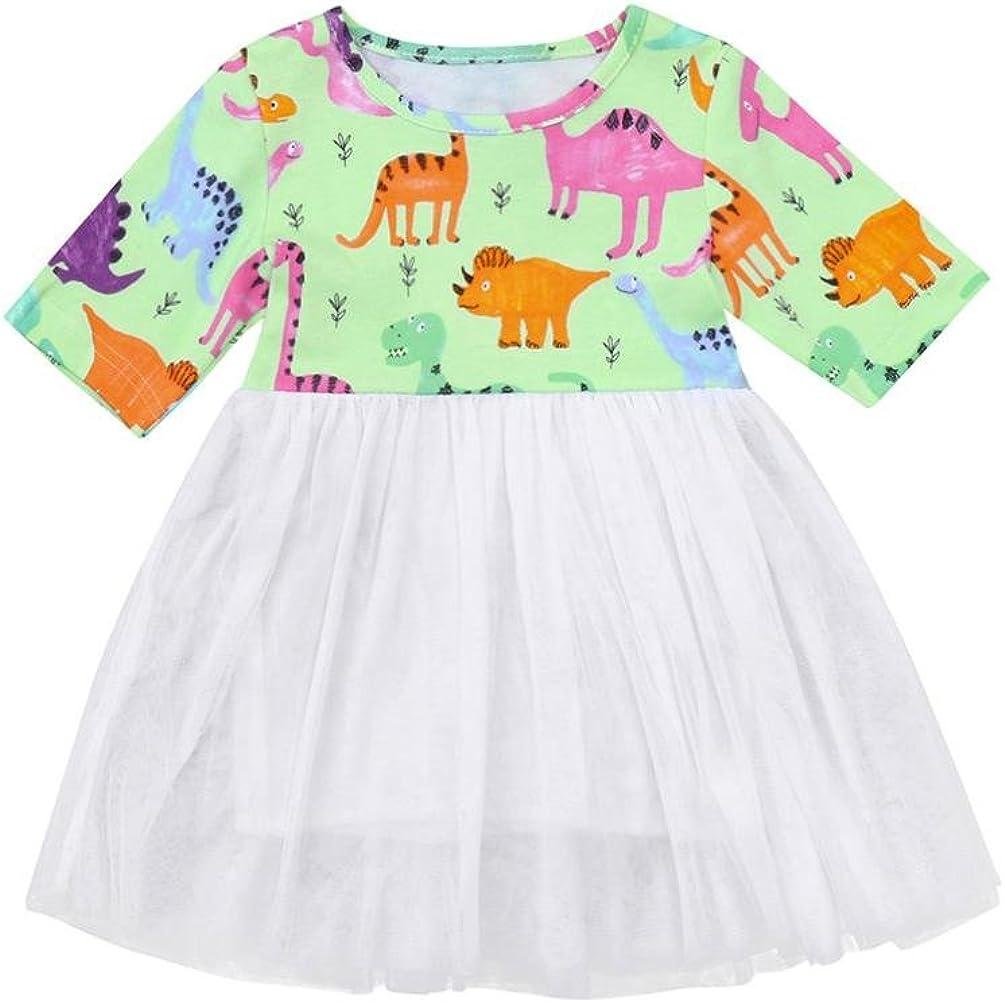WARMSHOP Summer Dresses for Girls Princess Party Daily Half Sleeve Dinosaur Print Tutu Tulle Pullover Sundress