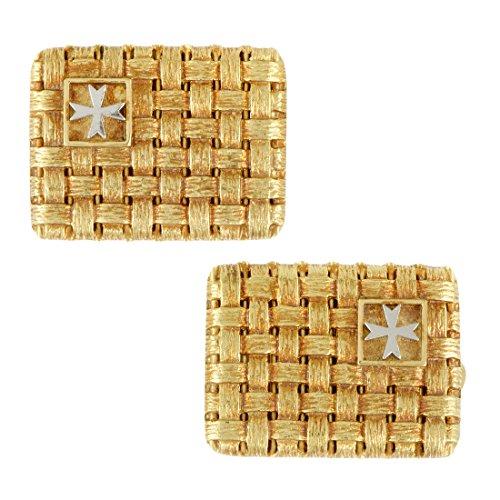 White Gold Cufflinks - Vacheron Constantin Woven 18K Yellow and White Gold Cufflinks