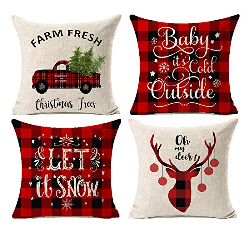 Kithomer Set of 4 Buffalo Plaid Christmas Pillow Covers Farmhouse Decorative Cotton Linen Throw Pillow Cases 18 x 18 Inch Christmas Home Decoration (Rustic Plaid Decor Christmas)