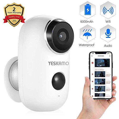 YESKAMO Wireless CCTV Camera Battery Powered Rechargeable 1080P Wireless Security Camera Outdoor For Home Wifi IP…