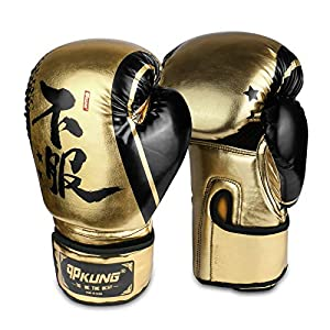 qpKUNG Boxing Gloves, Training Gloves PU Leather Wrist Joint Protect Breathable for Thai Boxing MMA Sparring Punching Bag Fighting