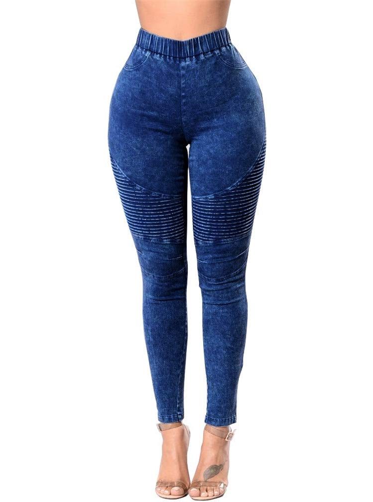LeaLac Women's Cotton High Waisted Ankle Zip Moto Pant Stretch Pencil Leggings Pants L117-P249 Dark Blue S