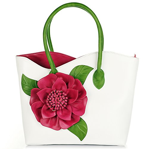 Women 3D Flower Seris PU Leather Tote Bag By Vanillachocolate (Large, White)