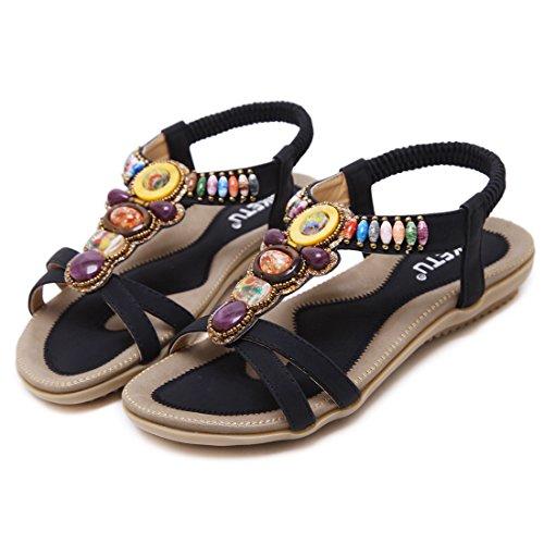 Dames Noir Ruiren Bohemian Plates Les Chaussures Beeded Femmes Sandales pour D'été nfzA7p