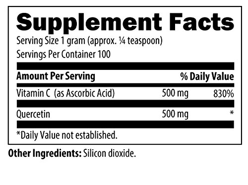 Designs for Health Quercetin Ascorbate 500mg Quercetin + Vitamin C for Histamine Balance Support, 100 Grams