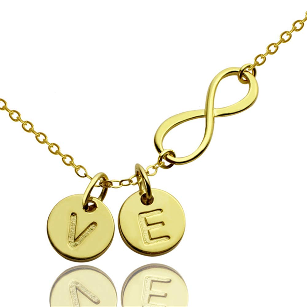 Jumping Birthstone Initial Necklace 26 Letters from A-Z Stainless Steel Silver and Gold Color