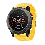 CSSD Clearance Fashion Replacement Silicone Soft Quick Release Kit Bands Straps For Garmin Fenix 5X (Yellow)