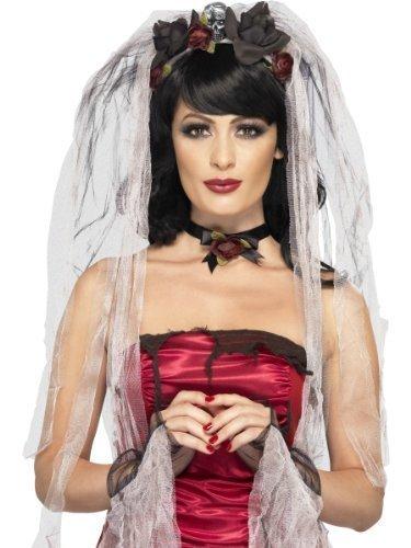 Ladies Dead Gothic Bride Veil Choker Gloves Halloween