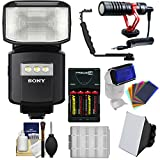 Sony Alpha HVL-F60RM Radio-Control Wireless Flash with Video Light + Soft Box + Color Gels + Microphone + Bracket + Batteries & Charger Kit