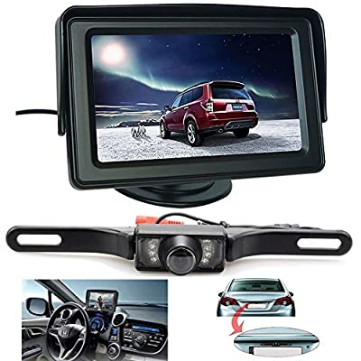 Backup Camera and Monitor Kit, ShineKee Universal Waterproof Rear-view License Plate Car Rear Backup Camera + 4.3 LCD Rear View Monitor
