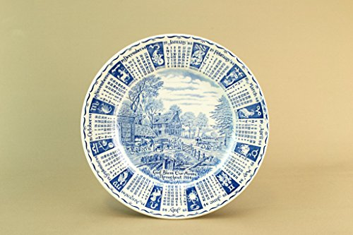 - 1984 Blue & White Decorative Calendar Plate Dish Plaque English Countryside Village Vintage