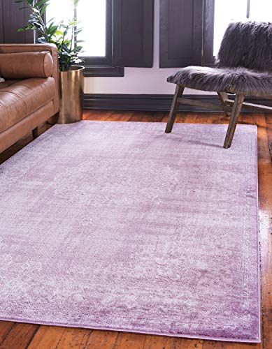 - Unique Loom Leila Collection Distressed Traditional Vintage High & Low Textured Pile Violet Area Rug (8' 0 x 11' 0)