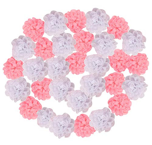 Craft Flowers - 50-Pack Flower Embellishments, 3.8-Inch White and Pink Eyelet Fabric Flowers for Craft, Decorations, DIY Headbands, Hair Bow, Accessories