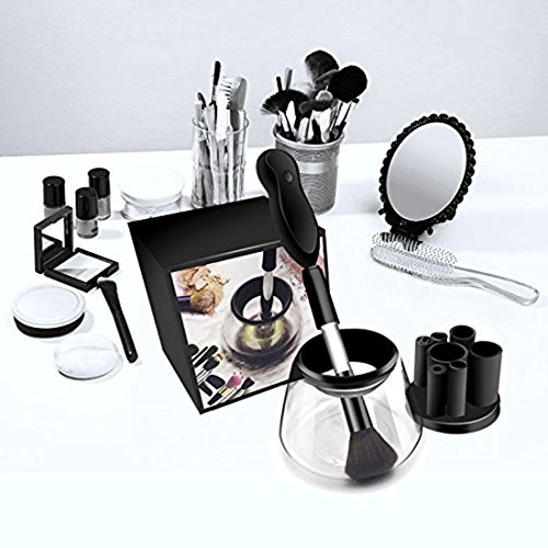 Hot Trend 2018  Smartsolutions Makeup Brush Cleaner And Dryer Machine  Completely Clean In Seconds And Dry In 360 Rotation With 8 Rubber Holders  Suit For All Size Makeup Brushes