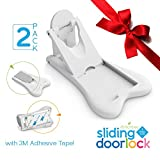 Sliding Door Lock for Child Safety - Baby Proof Doors & Closets. Childproof your Home with No Screws or Drills by Ashtonbee (Set of 2, White)