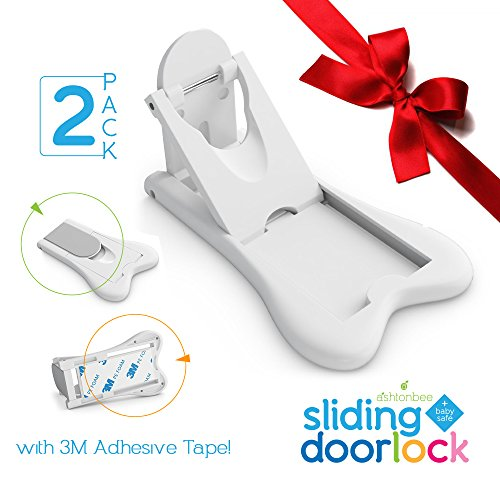 Sliding Door Lock for Child Safety - Baby Proof Doors & Closets. Childproof your Home with No Screws or Drills by Ashtonbee (Set of 2, (Sliding Closet Door Locks)