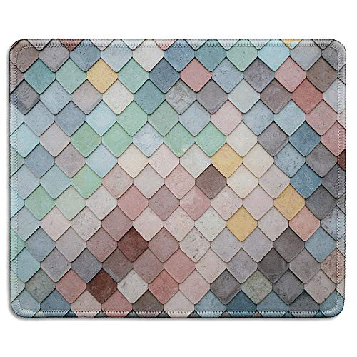 dealzEpic - Art Mousepad - Natural Rubber Mouse Pad Printed with Colorful Tiles Texture Pattern - Stitched Edges - 9.5x7.9 inches