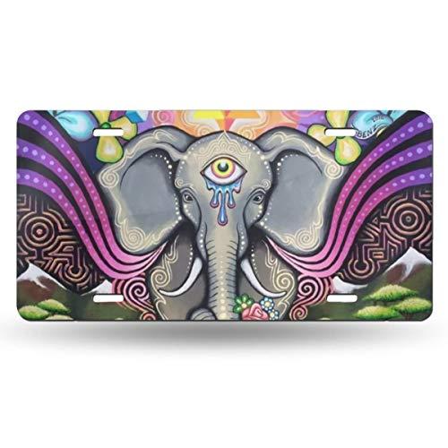 - EWSOFM Indian Mandala Hamsa All Seeing Eye Elephant Krystal Floral Automotive Metal License Plate Decoration Novelty Car Tags Cover Front License Plates 4 Holes