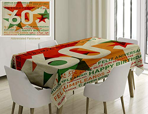 Unique Custom Cotton And Linen Blend Tablecloth 60Th Birthday Decorations World Cities Birthday Party With Abstract Stars Green Vermilion And WhiteTablecovers For Rectangle Tables, 86 x 55 Inches -