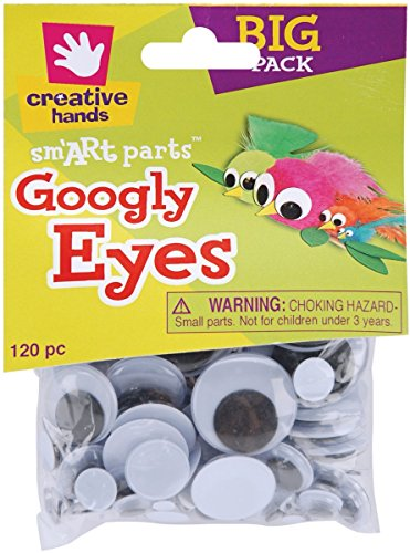 (Creative Hands by Fibre-Craft – 5-30mm Black Glue-On Googly Eyes – Teaches Creativity – Multipurpose – 120 Pieces (Pack of 2) )