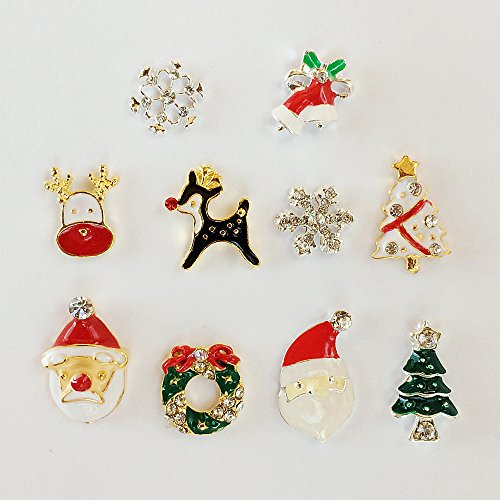 Winstonia Christmas Nail Art Charms Decoration Village Winter Holiday Beads - Santa Claus, Reindeer, Wreath, Christmas Tree (10pcs) - Village Charm
