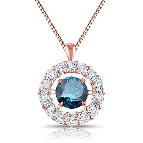 hythm Circle Halo Pendant Necklace 14k Rose Gold (1 cttw, Blue) 18